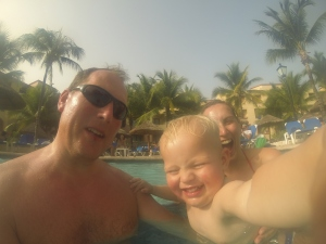Family Foote swimming in Mexico