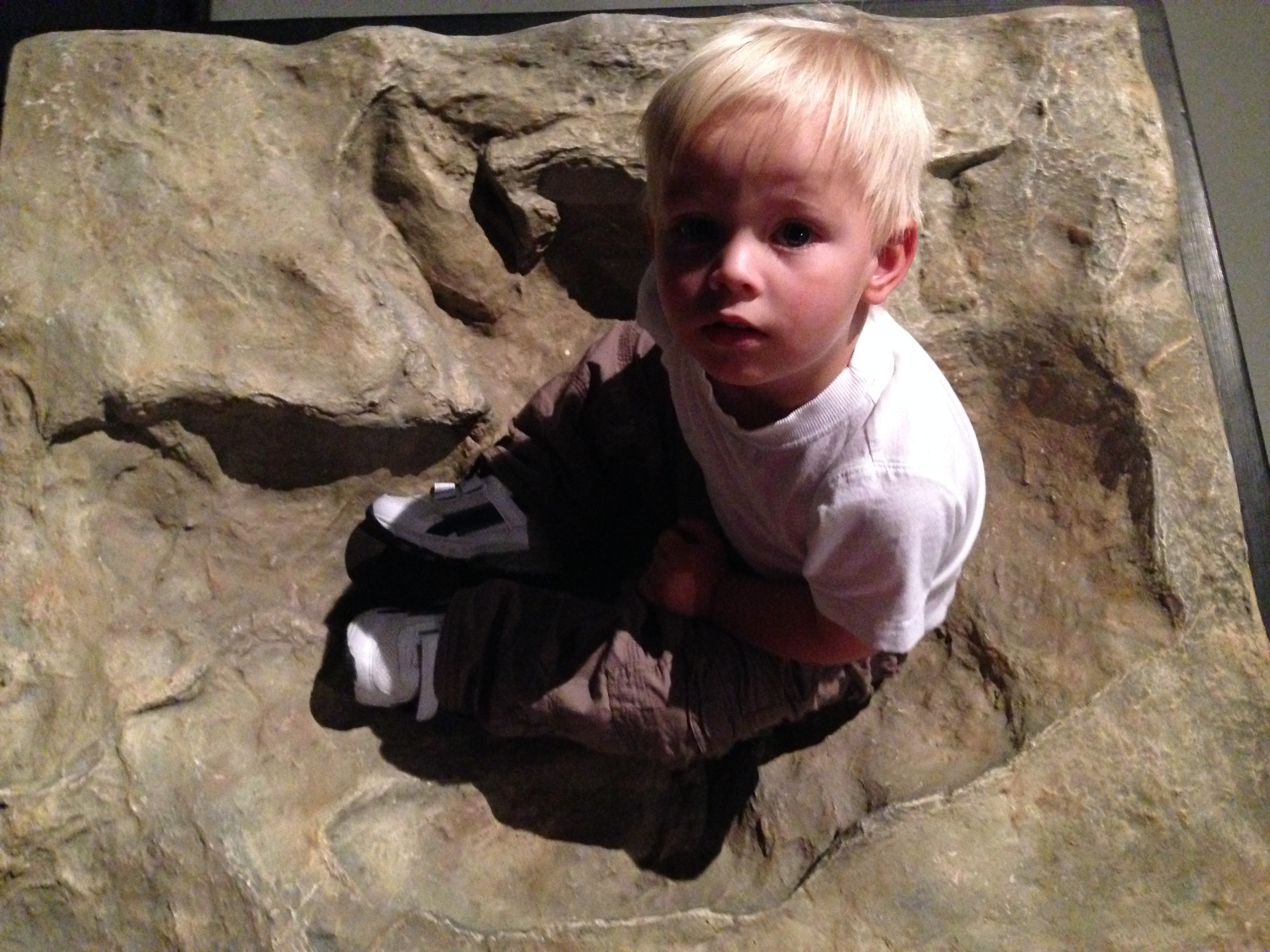 James inside a tyrannosaurus rex's footprint at Woodhorn colliery museum