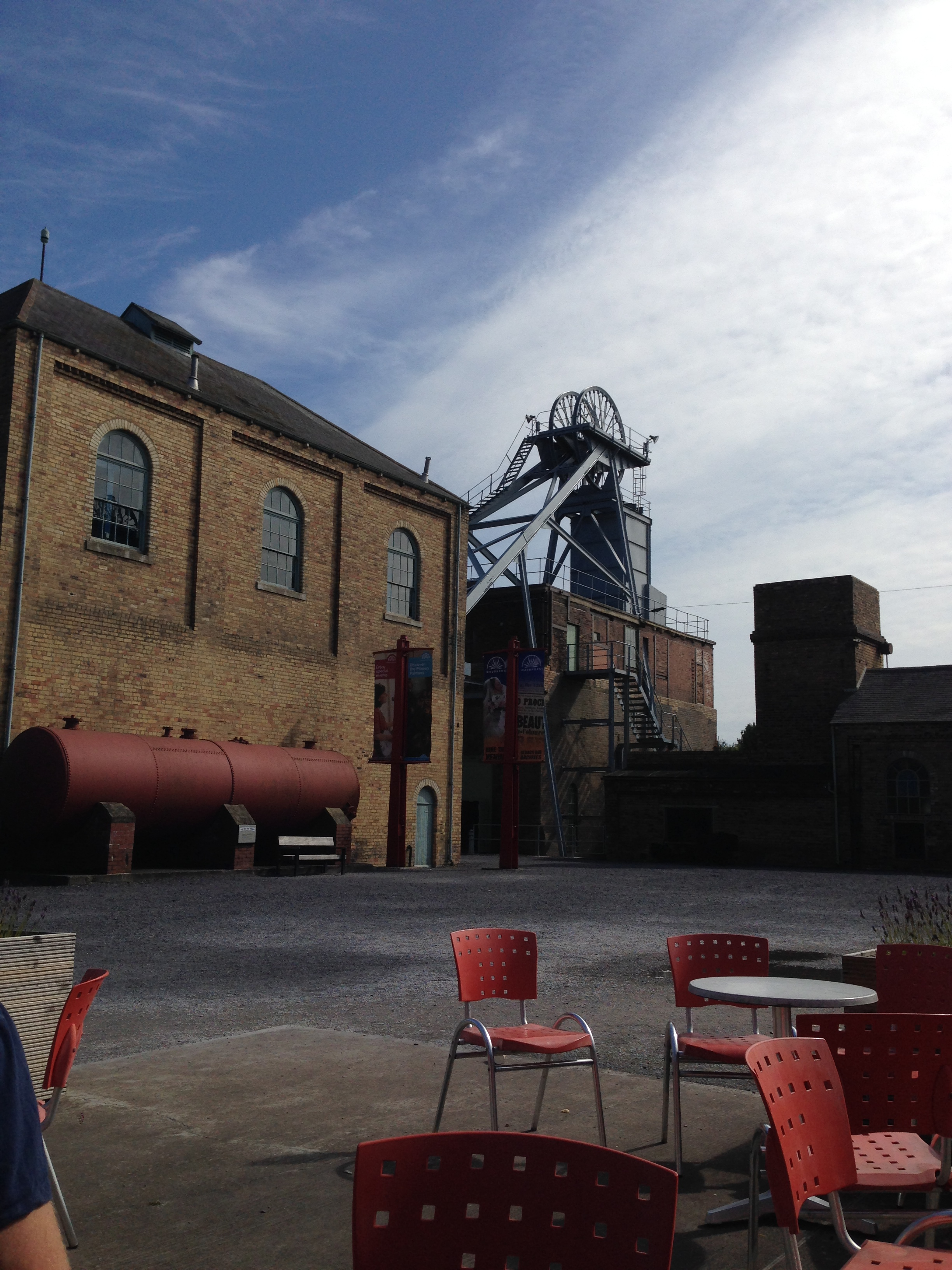 Woodhorn Colliery Museum outdoor seating cafe area overlooking wheel