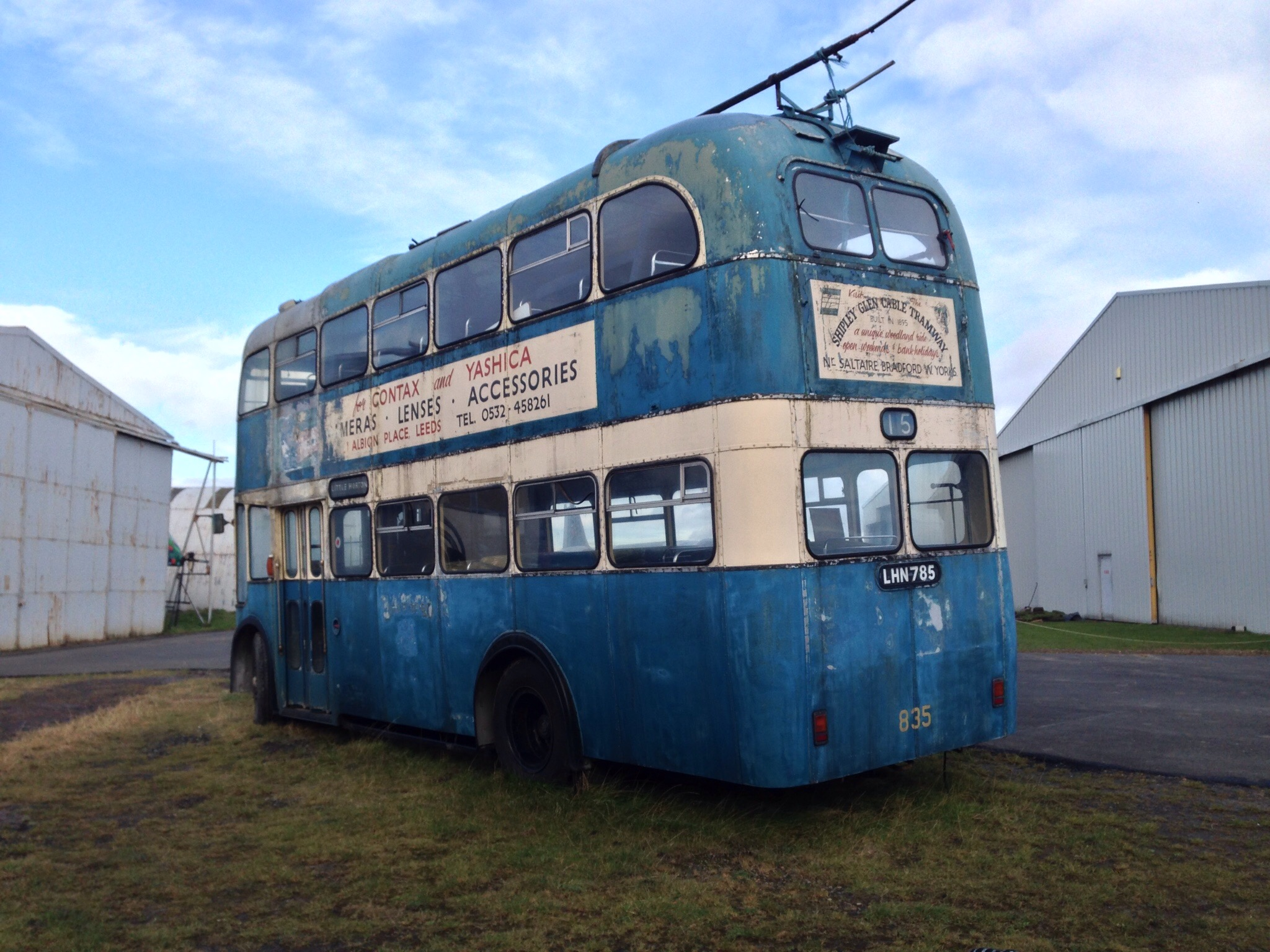 old blue bus at sunderland air museum days out with a toddler in north east england
