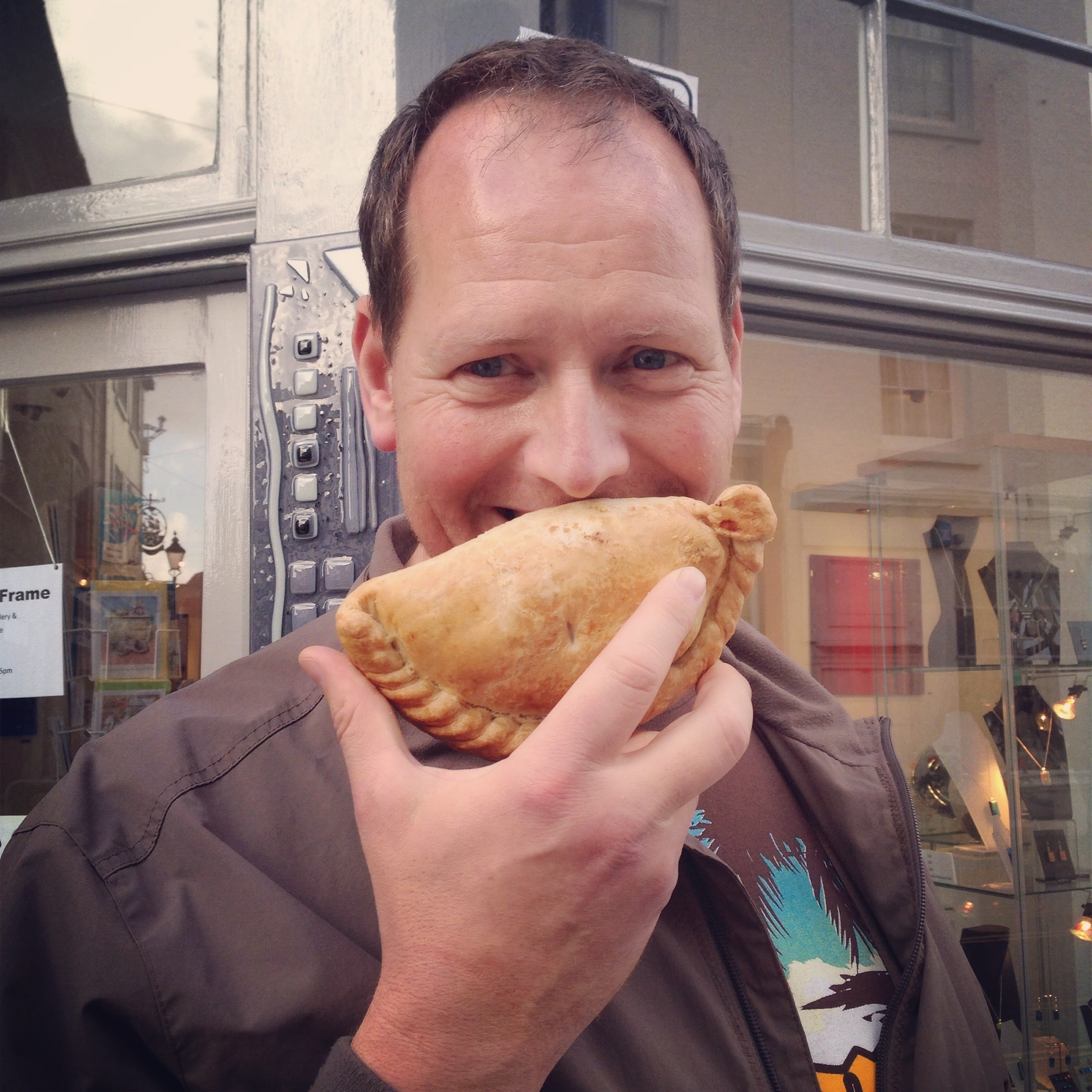 Eating a giant Cornish pasty smile!
