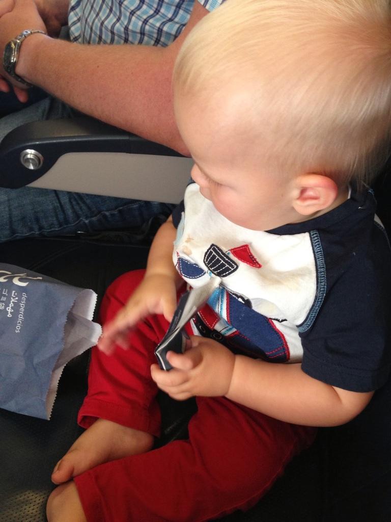 entertaining baby on plane