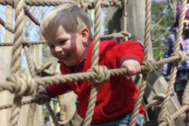 bouncing the rope bridge