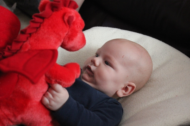 baby with dragon soft toy