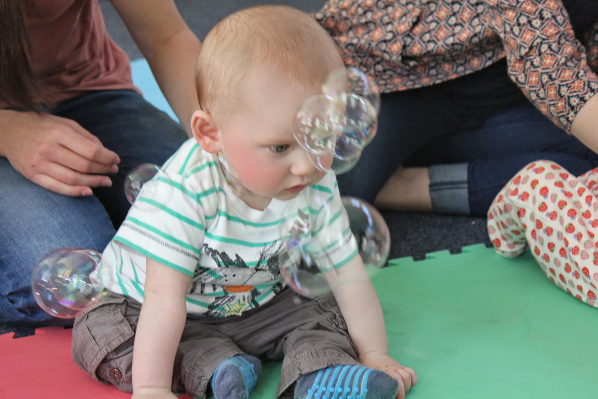 baby with bubbles at tots play north shields