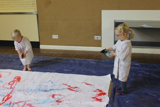 spraying paint at Artventurers Newcastle Gateshead Petits Filous