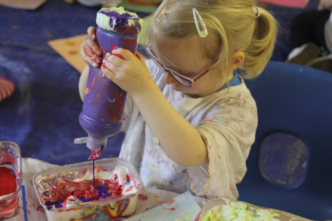 squirting paint at artventurers Newcastle Gateshead petits filous