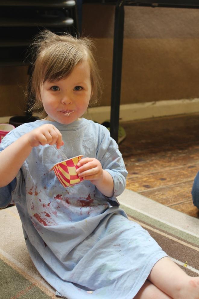 eating yoghurt at Artventurers Newcastle Gateshead Petits Filous