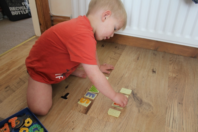 name recognition practice for toddlers and preschoolers using magnets and post-its and a review of the little boy who lost his name book