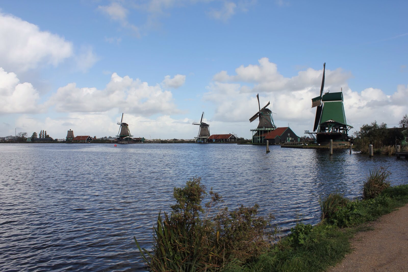 zaanse schans windmills lake