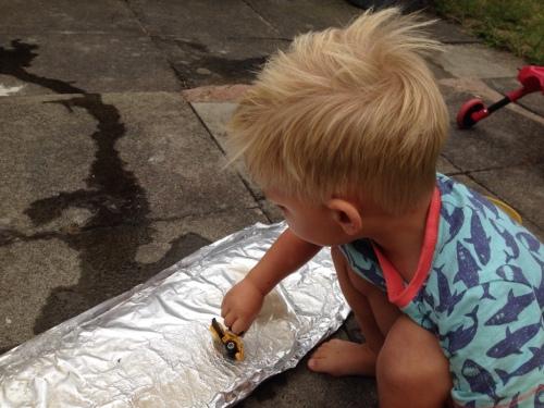 Toddler garden activities foil fun