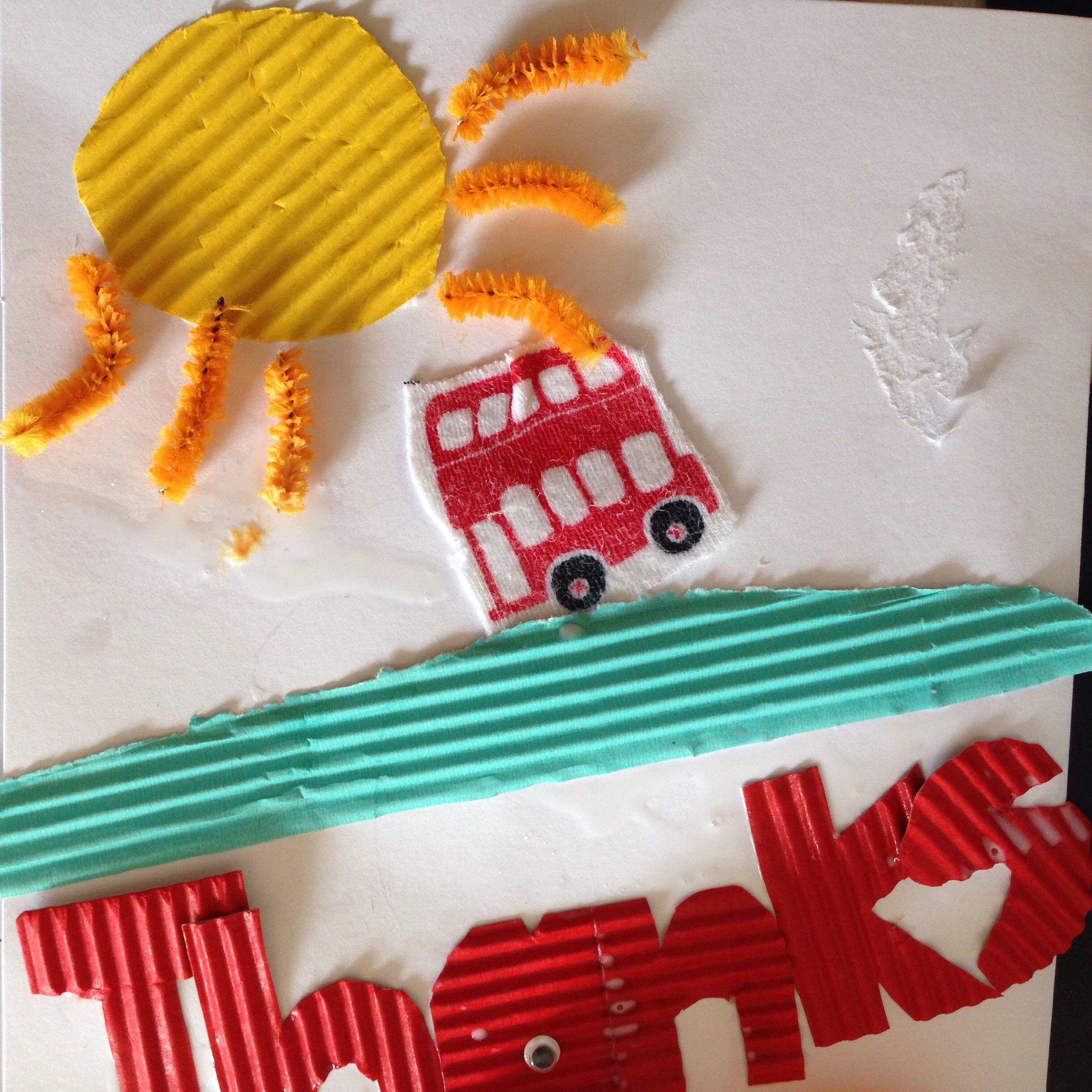 thank you card with a bus on msde by preschooler
