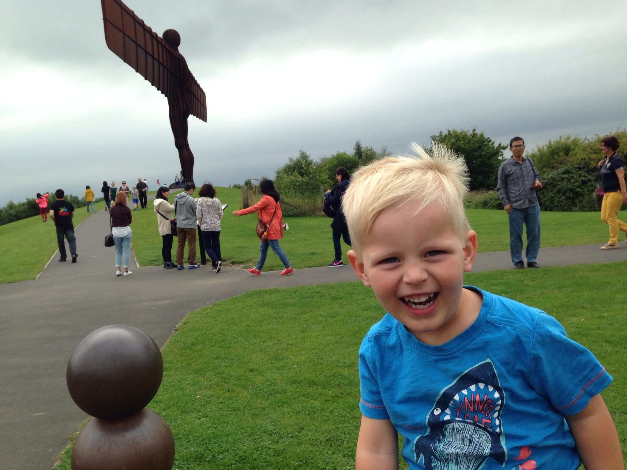 laughing toddler angel of the north