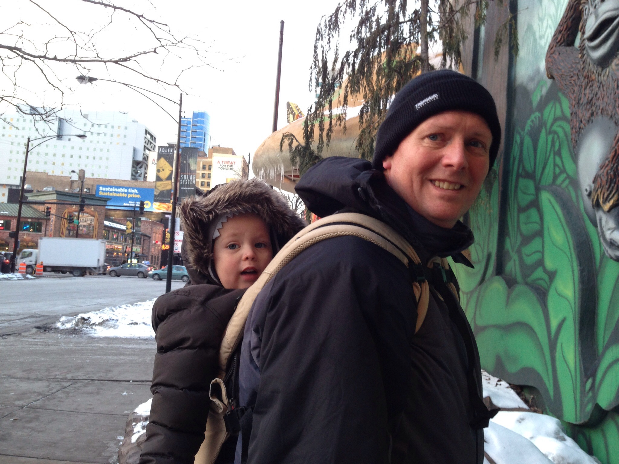 babywearing daddy in chicago cold weather