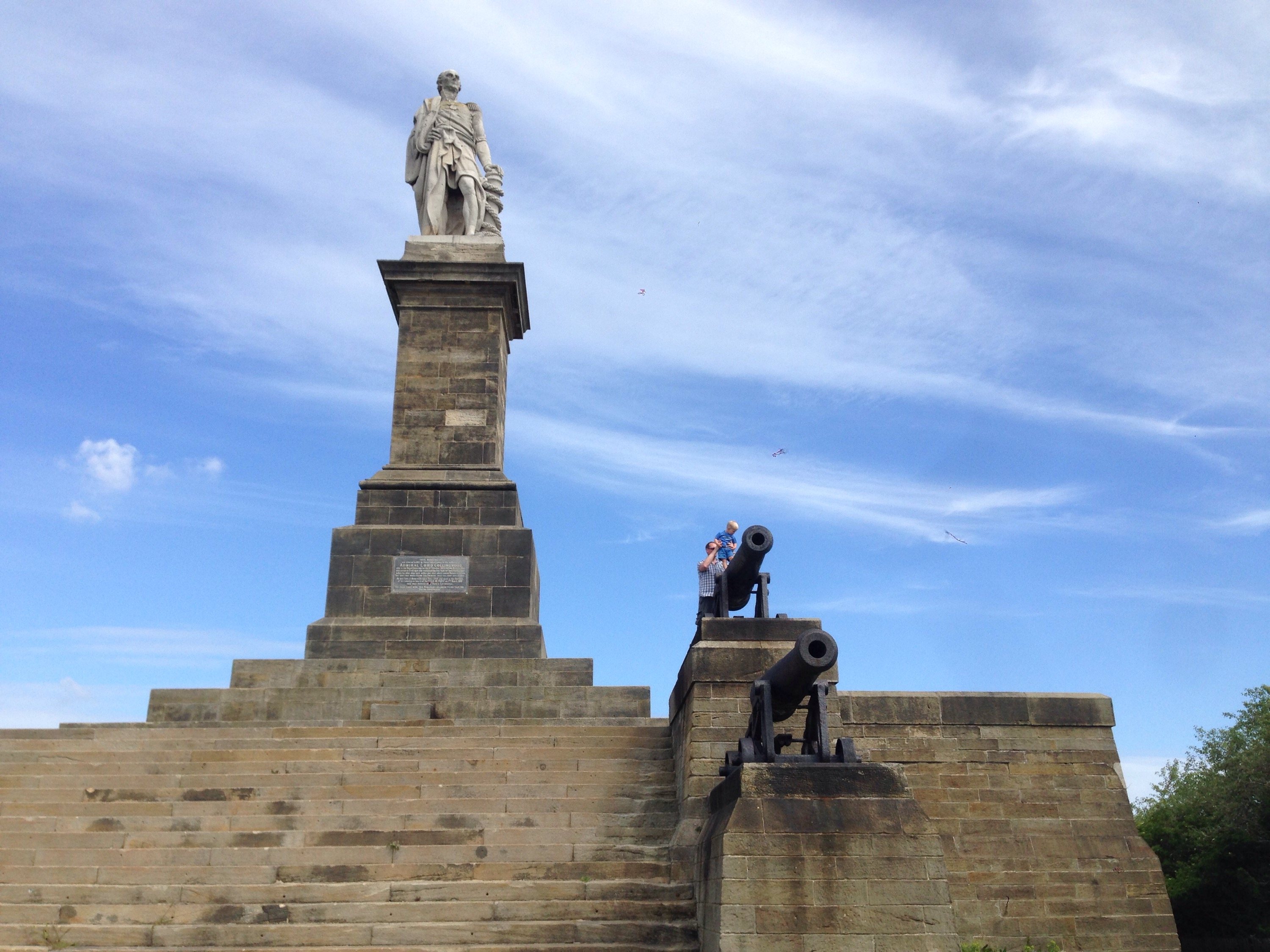 Lord Collingwood monument overlooks the mouth of the Tyne near Tynemouth, North East England