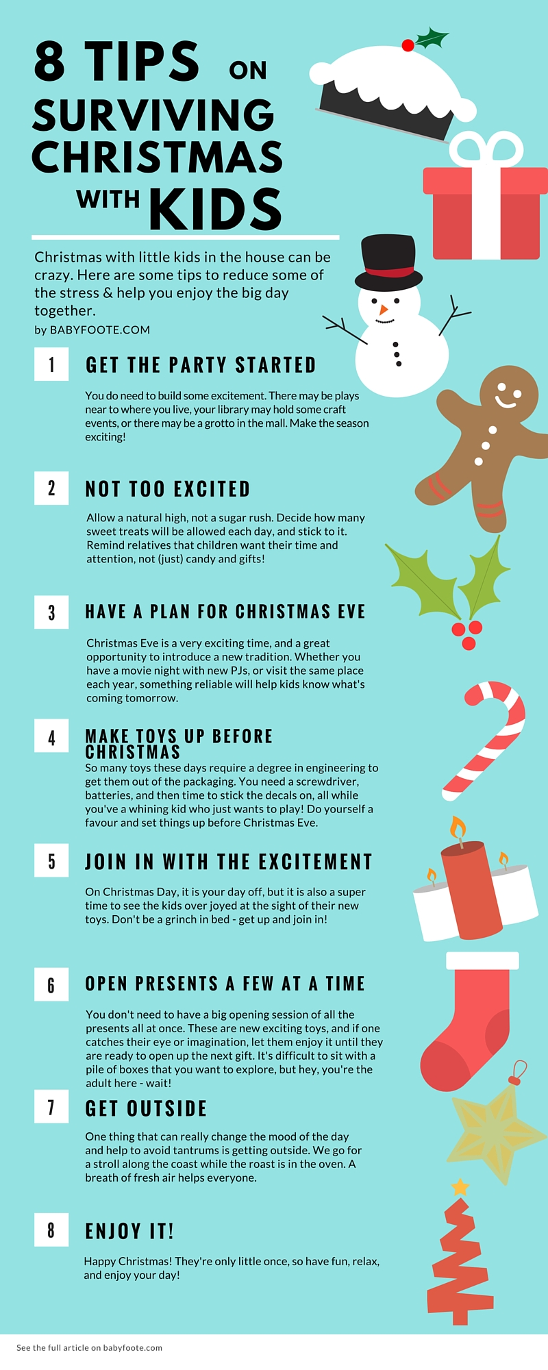 8 tips fin surviving Christmas with little kids - planning for the big day, opening presents and making sure the day goes as smoothly and enjoyably for everyone!