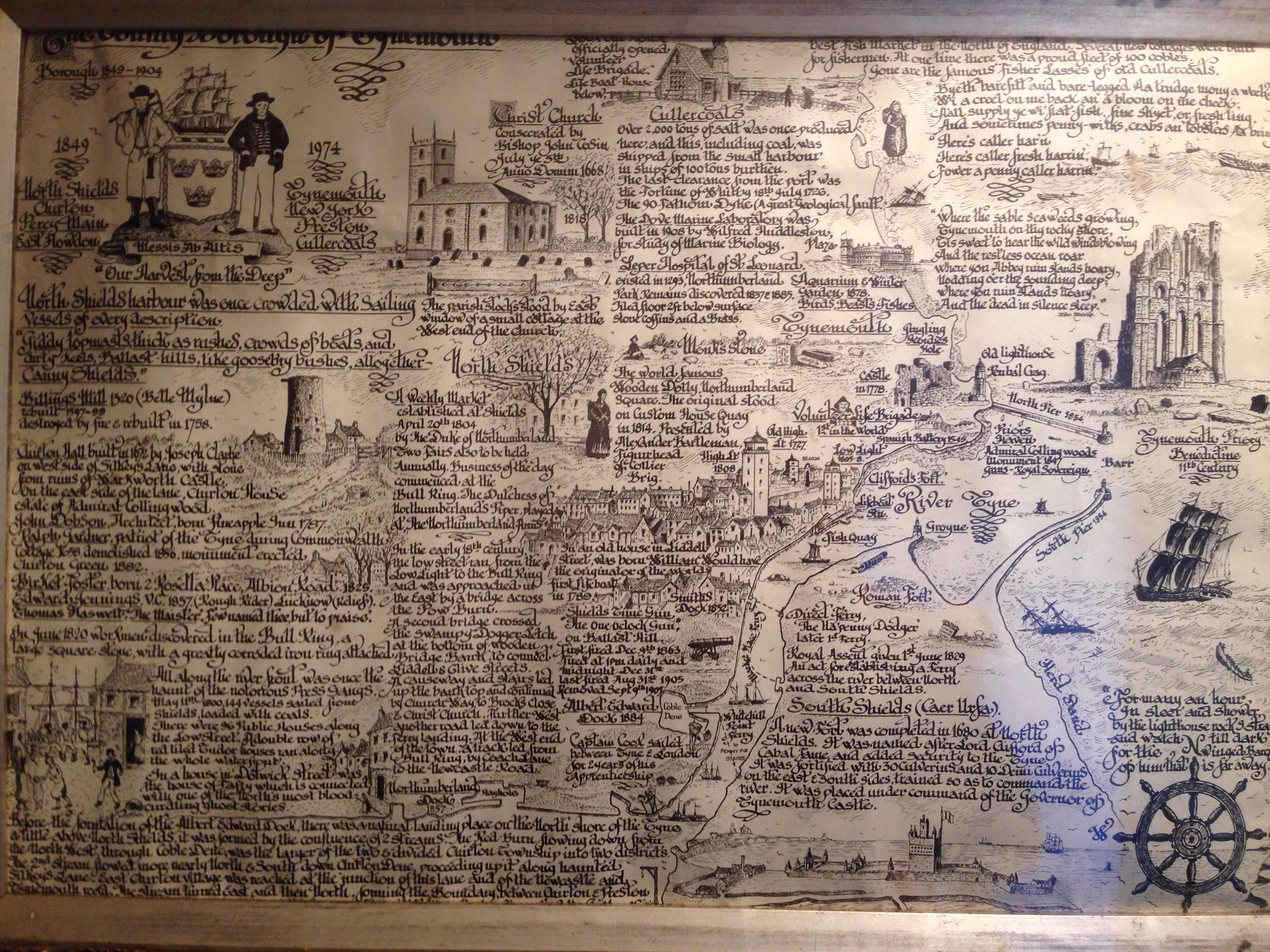 line drawing map of north tyneside on display at the watch house