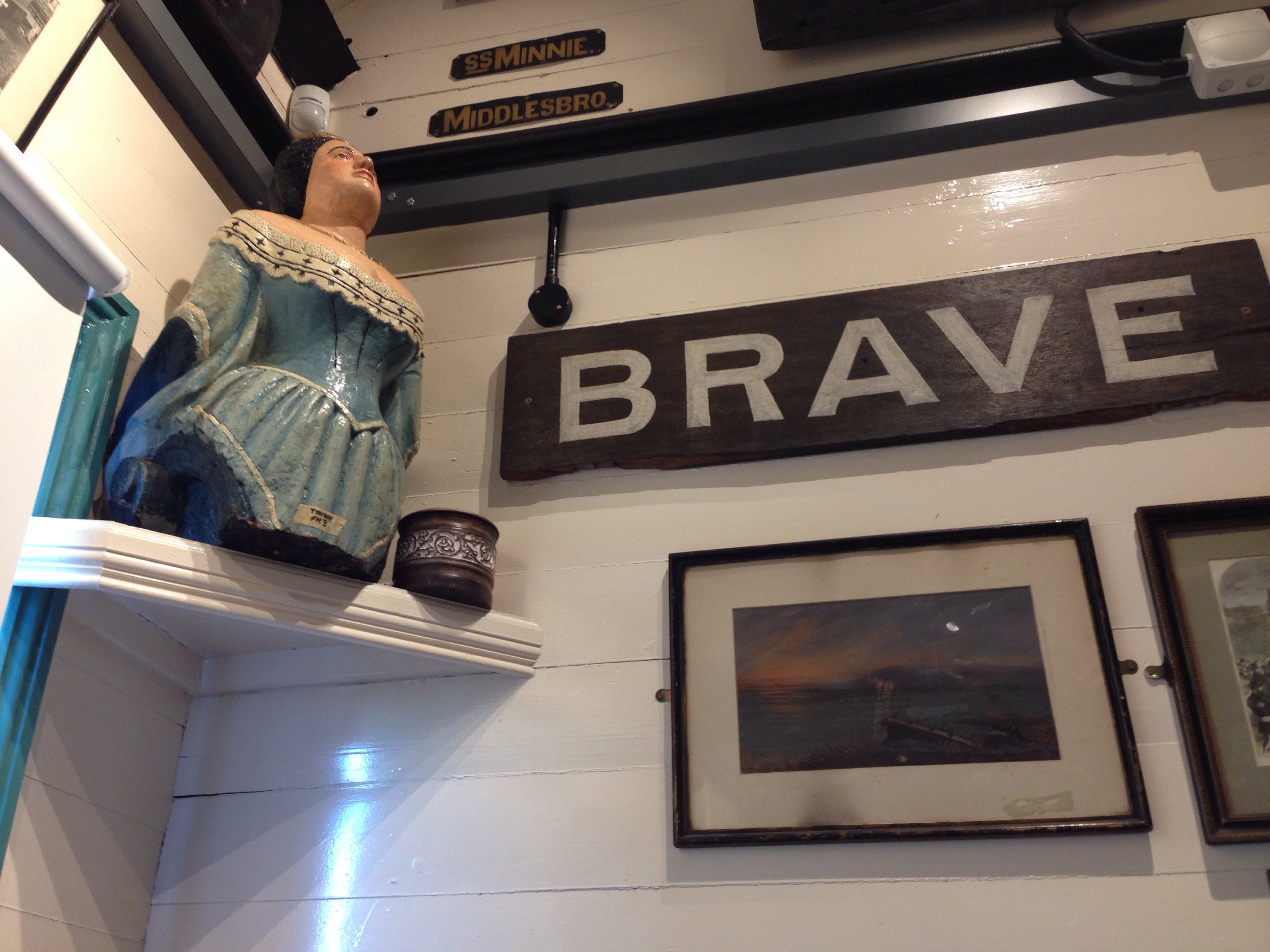 figurehead and signs in the tynemouth volunteer life brigade watch house museum