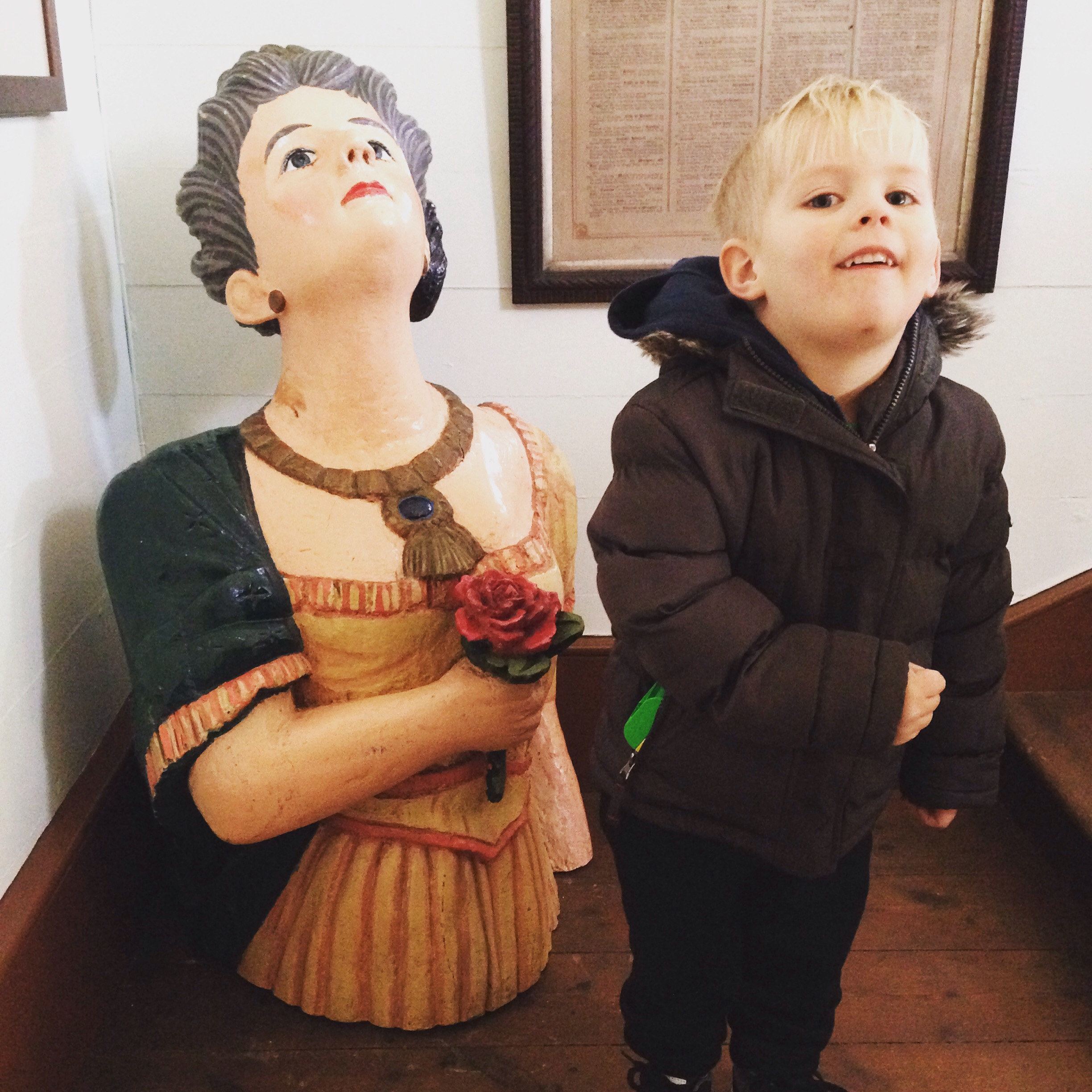 James as a boat figure head, with a figure head at the TVLB Museum